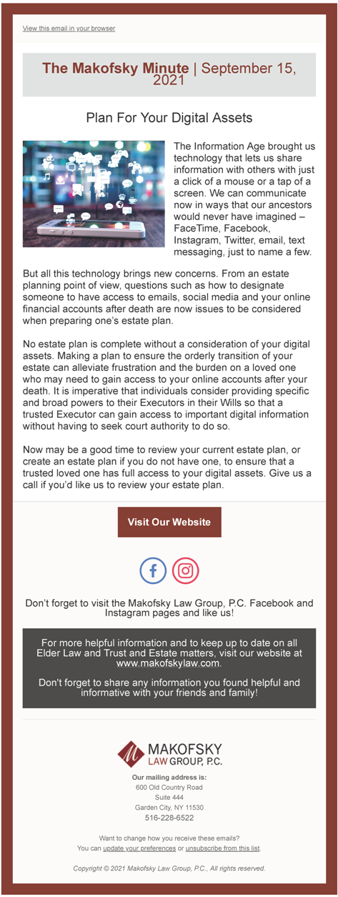 Plan For Your Digital Assets